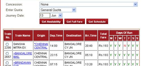Check trains, fares, and availability of seats between stations